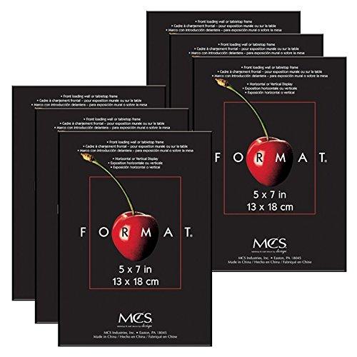 MCS Format Marco de Fotos, Color Negro, 12,7x 17,8cm, Paquete de 6, Paquete de 6, Negro, 1 uds. por Paquete