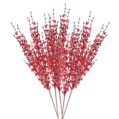 XHXSTORE 5pcs Flores Artificiales Exterior Interior Flor Jazmin Artificial Rama Plastico Roja Tallo Flores Artificiales Decoracion Jarrones para Hogar Boda Fiesta Oficina Mesa Cocina Jardinera Baño