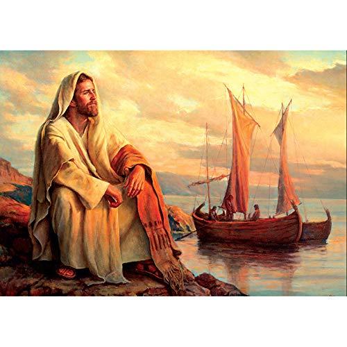 Kbfilj Sin Marco DIY Pintura por Números Jesús Junto Al Mar 40X50Cm,Pintura Acrílica para Niños Y Adultos Principiantes,Sin Marco O Lienzo