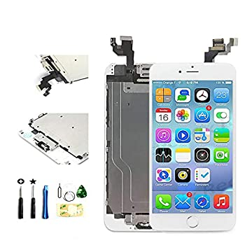 with Front Camera Facing Proximity Sensor Earpiece Speaker Home Button Full Assembly Digitizer Display LCD Screen Replacement for iPhone 6 Plus 5.5 Inch White