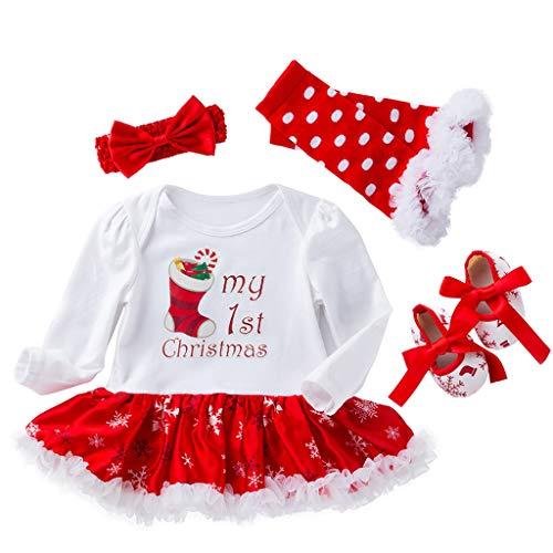 Bambina Tutina Vestito Pagliaccetto + Fascia + Scarpe + Scaldamuscoli 4 Pezzi Completi Calza Natale 6-12 Mesi