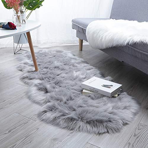 HEQUN Faux Lammfell Schaffell Teppich Kunstfell Dekofell Lammfellimitat Teppich Longhair Fell Nachahmung Wolle Bettvorleger Sofa Matte (Grau, 60 X 160 cm)