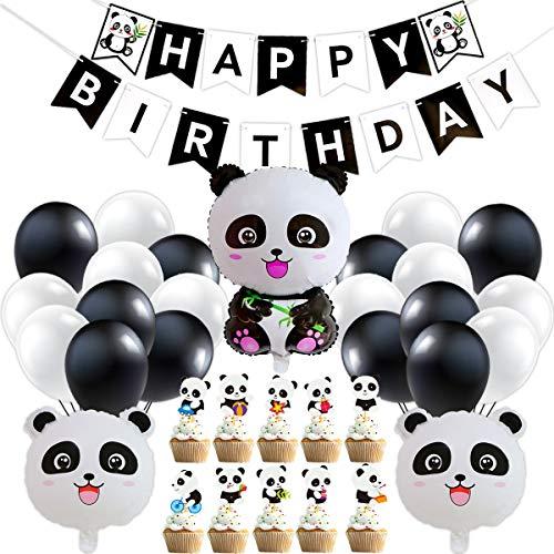 Décorations Fête Panda pour Enfants, Décoration de Fête Sujet de Panda avec Ballons, Panda Anniversaire Fournitures Kit avec Bannière Panda Ballons pour Garçons Filles Panda Thème Fête d'Anniversaire
