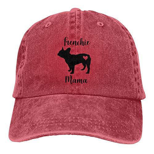 Women's Unique Baseball Cap Adjustable Strapback Hat Frenchie Mama Red
