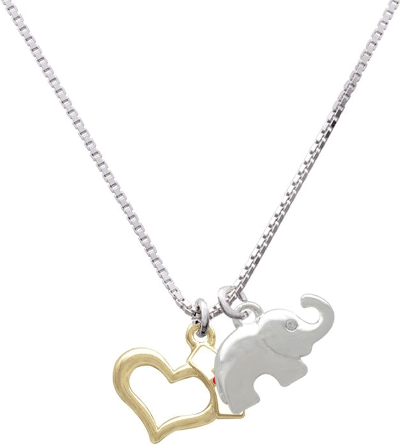Delight Jewelry Open Heart with Nurse Hat Elephant Necklace 18+2