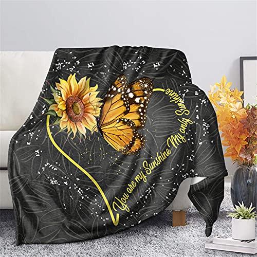 Biyejit, coperta in flanella con stampa di girasole e farfalle, per divano, camera da letto, letto, coperta leggera e decorativa per la casa