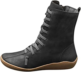 Kauneus Womens Comfy Soft Ankle Boots Classic Cross Strap Leather Mid Calf Boots - Side Zipper Vintage Short Boot