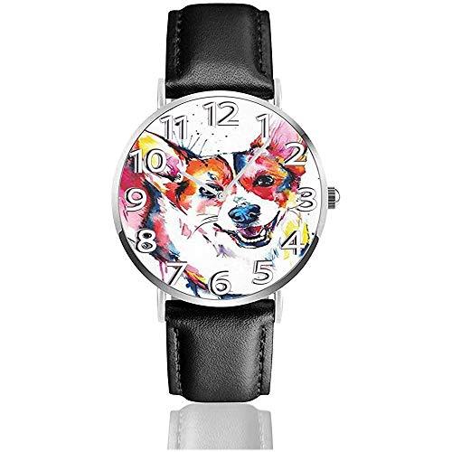 Pittura a olio Keki Dog Watches Orologio da polso in pelle PU Orologio al quarzo silenzioso con acciaio inossidabile argento