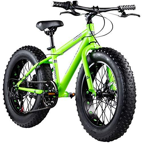 Galano Kinderrad 20 Zoll Fatbike Mountainbike Fatman 4.0 Fat Bike Kinderfahrrad (neongrün, 33 cm)