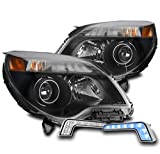 ZMAUTOPARTS Projector Black Headlights Headlamps with 6.25' Blue LED DRL Lights For 2010-2015 Chevy Equinox