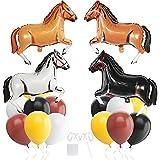Globos de papel de aluminio de 80 cm, con forma de caballo, para decoración de cumpleaños infantiles, fiestas de vaquero, caballo, color marrón
