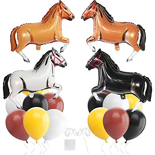 Globos de papel de aluminio con forma de caballo, para decoración de cumpleaños, fiestas de vaquero, color marrón