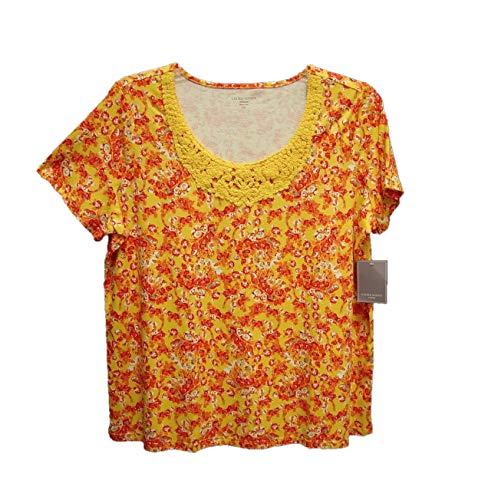 Laura Scott Super Soft 100% Cotton Daffodil Print Knit Crochet Boho TOP Shirt (Womens Plus 1X, 0X, XL) (Misses XL, XXL, 2XL)