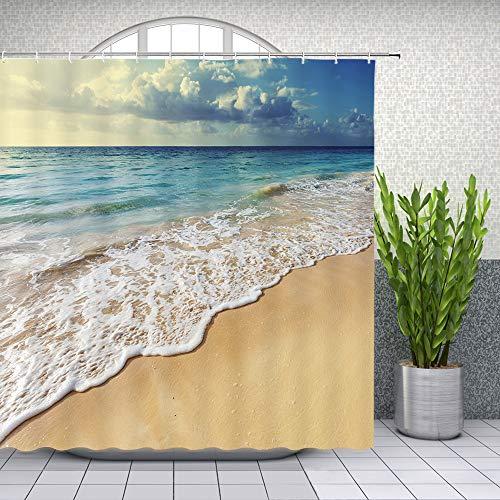 Lileihao Duschvorhang Dekor 179,9 x 177,8 cm wasserdichter Polyesterstoff Festival Home Badezimmer Dekor Vorhang Weiß Blau Khaki