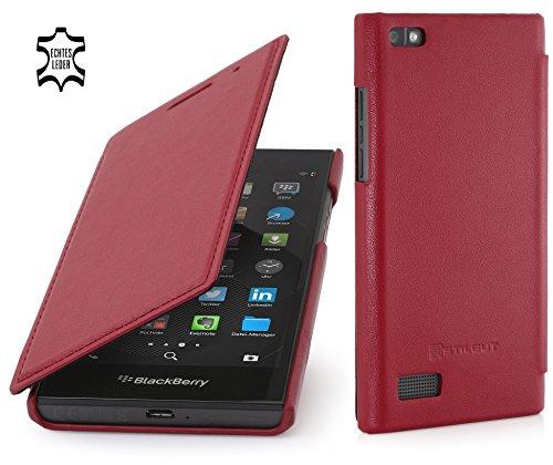 StilGut Book Type Hülle, dünne Hülle Leder-Tasche für BlackBerry Leap. Seitlich klappbares Flip-Hülle aus Echtleder für BlackBerry Leap, Rot Nappa