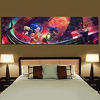 プリントウォールアートキャンバス絵画ポスター1個スーパーソニックビデオゲームハリネズミモジュラー写真モダンな家の寝室の装飾| 40x140cm-(フレームなし)