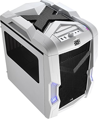Aerocool EN52797 Strike-X Cube PC-Gehäuse (Micro-ATX, 1x 5,3 Zoll Externe, 3X 3,5 Zoll interne, 2X USB 3.0) weiß/schwarz