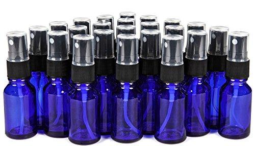 Vivaplex, 24, Cobalt Blue, 15 ml (1/2 oz) Glass Bottles, with Black Fine Mist Sprayer's