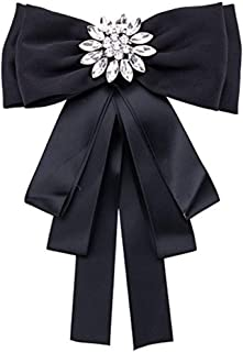 Rhinestone Crystal Ribbon brooches Pin Bow Tie Bow Brooch pre-Tied Bow tie for Women Wedding Party Bow Tie (Black)