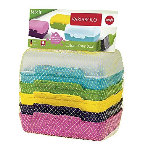 Emsa Clipboxen 3er-Set Variabolo 509388 | 6 Halbschalen für 3 Dosen | Beliebig zusammensetzbar | Spülmaschinengeeignet | Besonders für Kinder geeignet