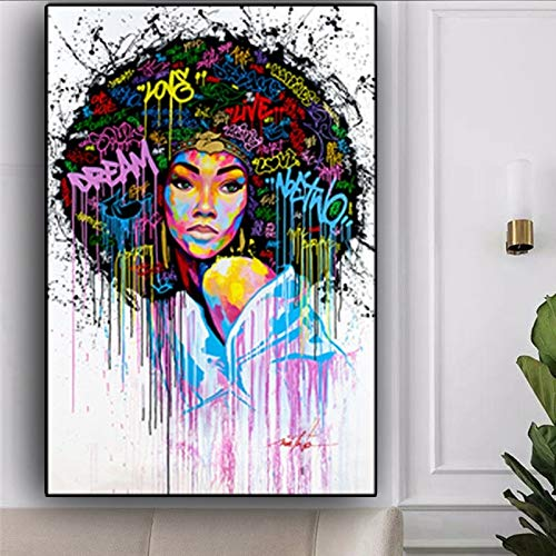 GJQFJBS Abstrakte afrikanische Frauen Wandkunst Bild Ölgemälde auf Leinwand Graffiti Straße für Wohnzimmer Schlafzimmer Bild (Rahmenlos) A3 50x90CM