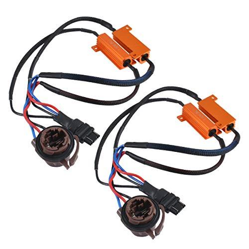TUINCYN 50W 8 ohm 3157 3047 3057 3155 3457 LED Load Resistors - Fix Headlight LED Bulb Fog Lamp Fast Hyper Flash Turn Signal Blink Light Dashboard Error Code CANBUS Resistors Decoder(1 Pair)
