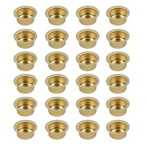 Kerzeneinsatz aus Metall, Durchmesser 12 bis 40 mm, Kerzentülle Kerzenhalter aus Metall für Baumkerzen, Puppenkerzen, Pyramidenkerzen Tafelkerzen und Teelichter, Teelichthalter, 24 Stück (12 mm)