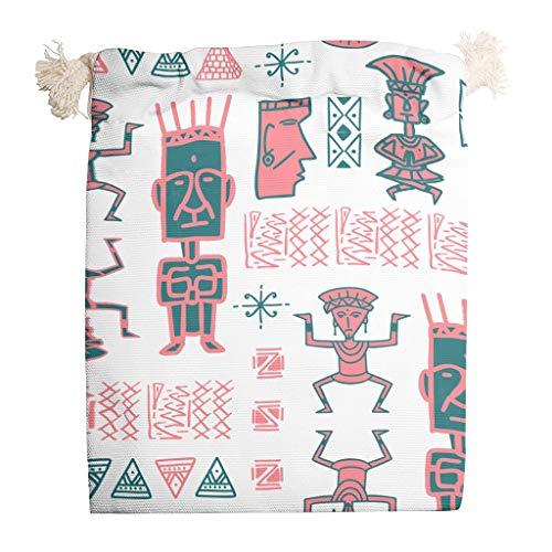 YxueSond Kordelzugbeutel Ägypten Indien Maya-Beutel Aufbewahrung personalisierte Kordelzug Goodie Taschen für Gastgeschenke 6 Stück, weiß, 20*25cm