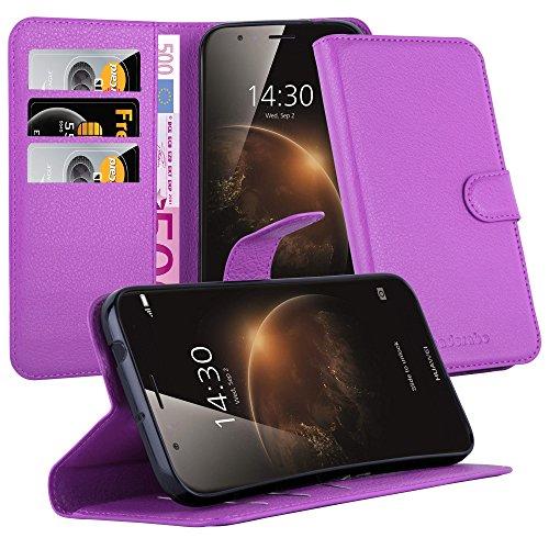 Cadorabo Hülle für Huawei G7 Plus / G8 / GX8 - Hülle in Mangan VIOLETT – Handyhülle mit Kartenfach & Standfunktion - Hülle Cover Schutzhülle Etui Tasche Book Klapp Style