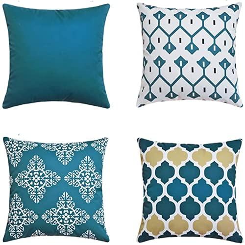 YRWL Funda de almohada decorativa de 4 piezas, diseño geométrico, funda de almohada cuadrada, adecuada para sofá, hogar, sala de estar, dormitorio decoración interior azul 5555 cm