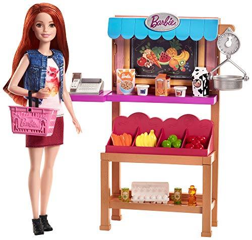 Barbie- Negozio di Alimentari con Scaffali Bilancia e Accessori, FJB27