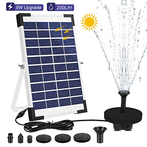 AIMTOP Solar Springbrunnen, 2020 Neue Solar Teichpumpe mit 5W Solar Panel, Solar Wasserpumpe Set für Gartenteich, Teich, Springbrunnen, Fisch-Behälter, Vogel-Bad, Solar Brunnenpumpe Durchfluss 200L/H