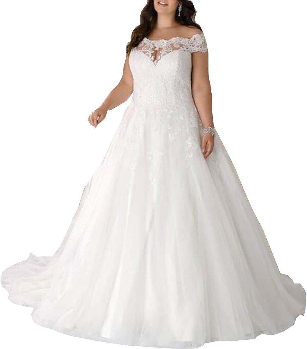 Mengxiaohe Women's Elegant Long Skirt Train Lace Skirt Beach Plus Size Lace Up Back Wedding Dress