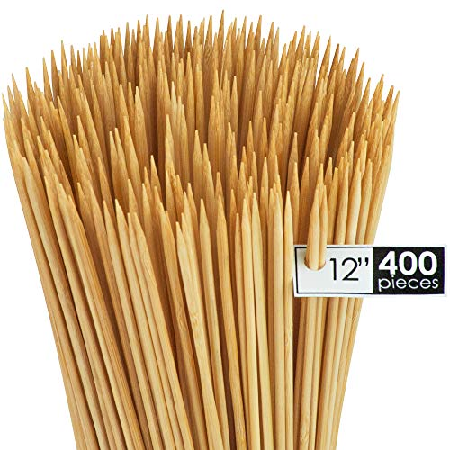 DecorRack Natural Bamboo Skewer Sticks, 400 Pack of 12 inch Organic Wooden Barbecue Kabob Skewers, Best for Grill, BBQ, Kebab, Marshmallow Roasting or Fruit Sticks