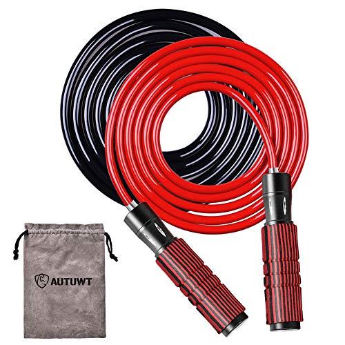Gewichtetes Springseil-Set [6 mm Seil& Plus 9 mm Seil], verstellbares Springseil, Schaumstoffummantelung um Aluminium-Griffe, für Cardio, Boxen und MMA, Ausdauertraining, Fitness-Workouts