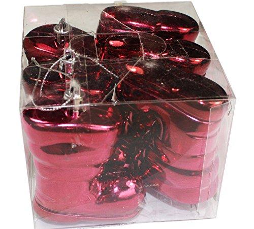 Weihnachten Baumschmuck Hänger Stiefel Dunkelrot 6er Set aus Kunststoff
