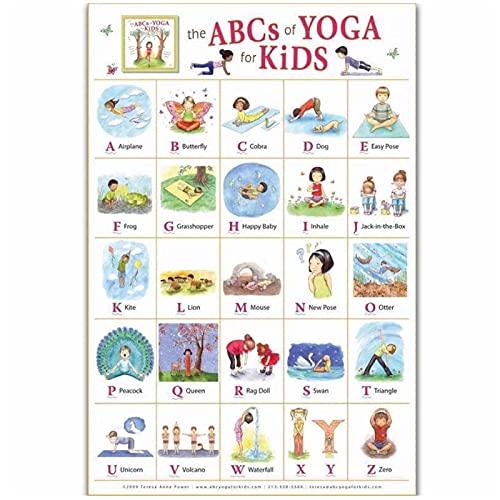 SDGW Cuadro De Yoga Astanga Vinyasa Estudio Infantil Inglés ABC Cuadro Cartel Personalizado Arte Lienzo Hogar Habitación Impresión De La Pared Decoración-50X70Cm Sin Marco