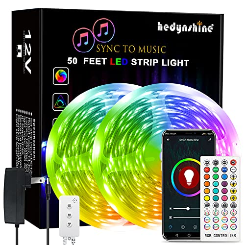 50Ft LED Strip Lights, Hedynshine Color Changing RGB Strip Lights for Bedroom,40 Key IR Remote Control, SYNC to Music Strip Lights(APP+Mic+Remote+3 Button Switch)