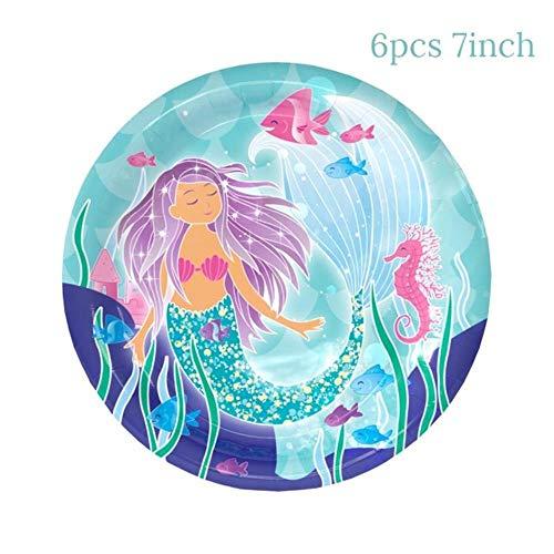 Papier Dekorationlittle MermaidParty Tischdecke Kinder Geburtstagsfeier Dekoration Tischdecke Jungle Party Supplies 1. Geburtstag Dekor, 6 Stück Pappteller