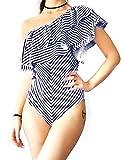 Maillot de Bain 1 Pièces Femme Monokini Epaule Ensembles Sexy Natation Piscine Amincissante Elégant Vintage, Bleu, XL