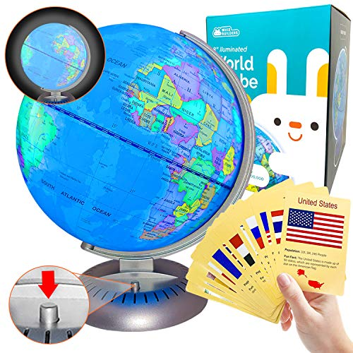 """Illuminated World Globe Lights by WhizBuilders: 8"""" Globe of The World with Stand Night Lights for Kids, Built in LED Light Earth Globe with Easy to Read Labels for Continents, Countries, Capitals"""