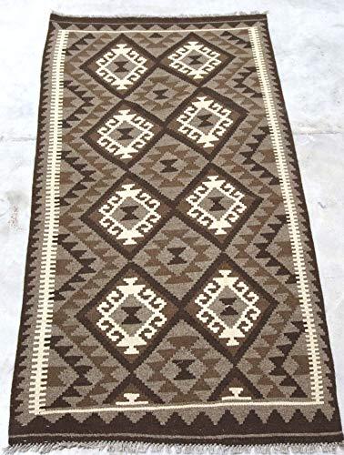Tappeto da passatoia Kilim afgano intrecciato a mano utilizzando 100% lana naturale marrone tinta unita tribale nomade 102 x 201 cm