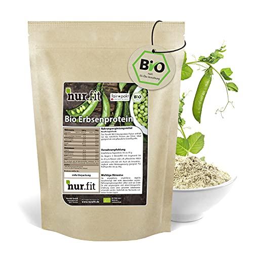 nur.fit by Nurafit BIO Erbsenprotein-Pulver 1kg - natürliches veganes Proteinpulver mit 80% Proteingehalt – vegan Protein in zertifizierter BIO-Qualität mit essenziellen Aminosäuren