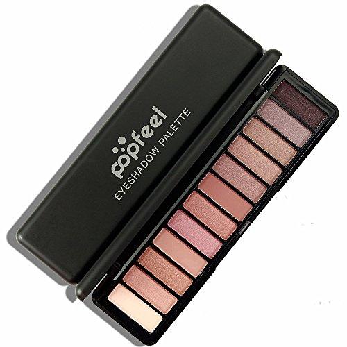 MORETIME Brillo cosmético para el maquillaje de sombra de ojos cosmética femenina de 12 colores paleta profesional de sombra de ojos mate, en polvo, pigmentos naturales, nude, ojos ahumados