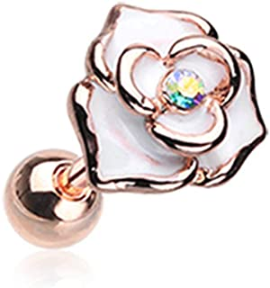 Rose Gold White Rose Sparkle WildKlass Cartilage Tragus Earring