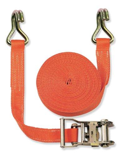Braun 1000-2-600+3040 Spanngurt 2000 daN, zweiteilig, für Profis und Privattransport, nach DIN EN 12195-2, Farbe orange, 6 m Länge, 35mm Bandreite mit Ratsche und 2-Strang Spitzhaken