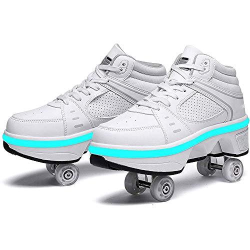 GWYX VIIPOO 2 In 1 Multifunktions-Inline-Skates Mit Bunten LED-Lichtern Multifunktions-Deformations-Skating-Rollschuhe Verstellbare Wanderschuhe Outdoor-Skaten,White-EU34/UK1.5