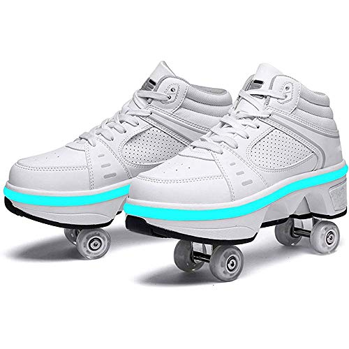 GWYX 2 In 1 Multifunktions-Inline-Skates Mit Bunten LED-Lichtern Multifunktions-Deformations-Skating-Rollschuhe Verstellbare Wanderschuhe Outdoor-Skaten,White-EU36/UK3