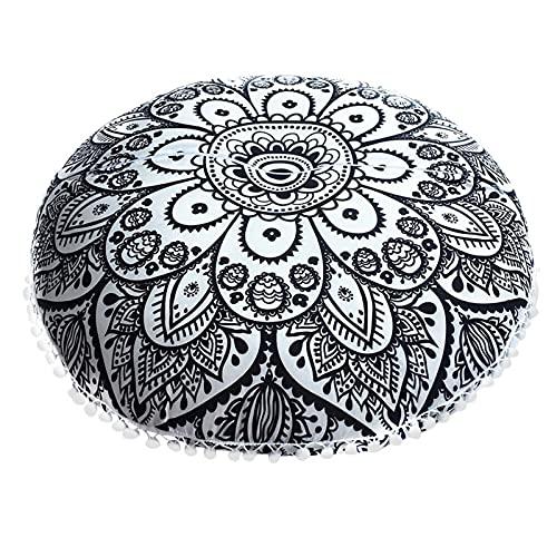 Funda de almohada 1 unids Mandala almohada de la almohada de la almohada de la pisada India Mandala almohadas de piso redondo Caja de almohada de cojín bohemio Hermoso y elegante ( Color : Black )