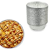 Yajing 5 Inch Small Round Pie Tart Tin Foil Pans - Freezer & Oven Safe Disposable Aluminum - For Baking, Cooking, Storage & Reheating - Pack of 50